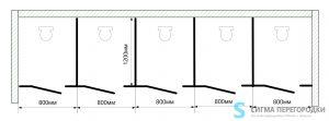Сантехнические Перегородки 12мм из HPL – 5 кабин
